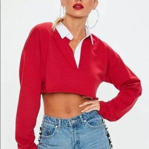 Women's NEW Red Rugby Polo Style Crop Top, Size 6